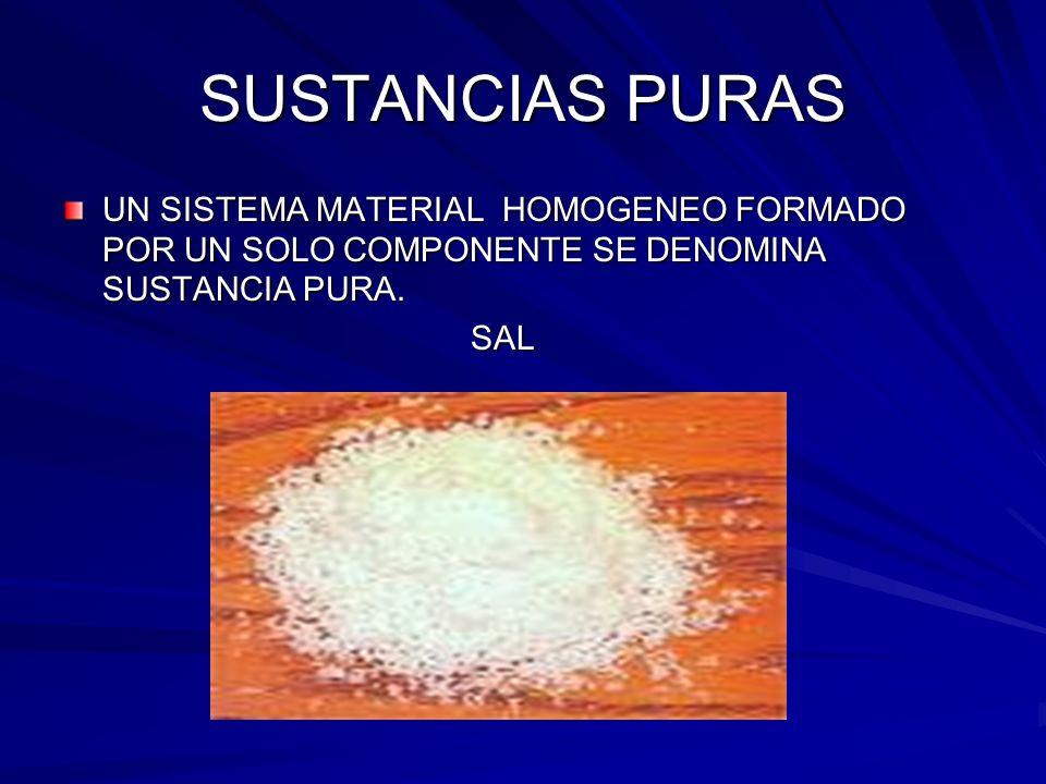 SUSTANCIAS PURAS UN SISTEMA MATERIAL HOMOGENEO FORMADO POR UN SOLO COMPONENTE SE DENOMINA SUSTANCIA PURA. SAL SAL