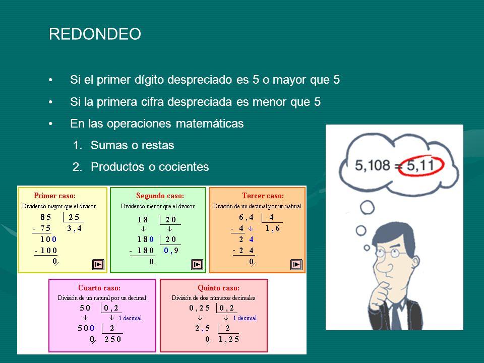 REDONDEO Si el primer dígito despreciado es 5 o mayor que 5 Si la primera cifra despreciada es menor que 5 En las operaciones matemáticas 1.Sumas o re