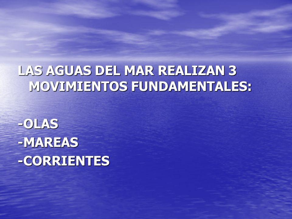LAS AGUAS DEL MAR REALIZAN 3 MOVIMIENTOS FUNDAMENTALES: -OLAS-MAREAS-CORRIENTES