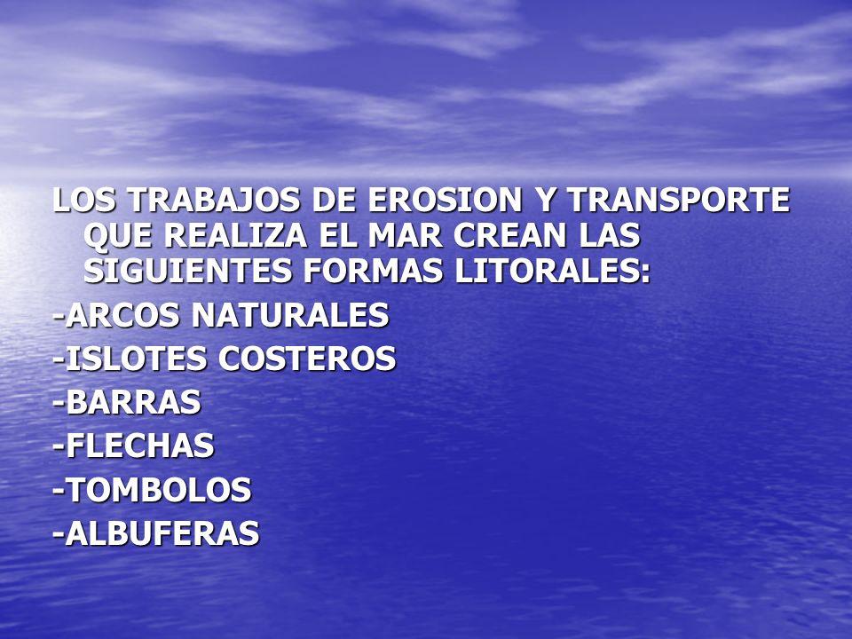 LOS TRABAJOS DE EROSION Y TRANSPORTE QUE REALIZA EL MAR CREAN LAS SIGUIENTES FORMAS LITORALES: -ARCOS NATURALES -ISLOTES COSTEROS -BARRAS-FLECHAS-TOMB