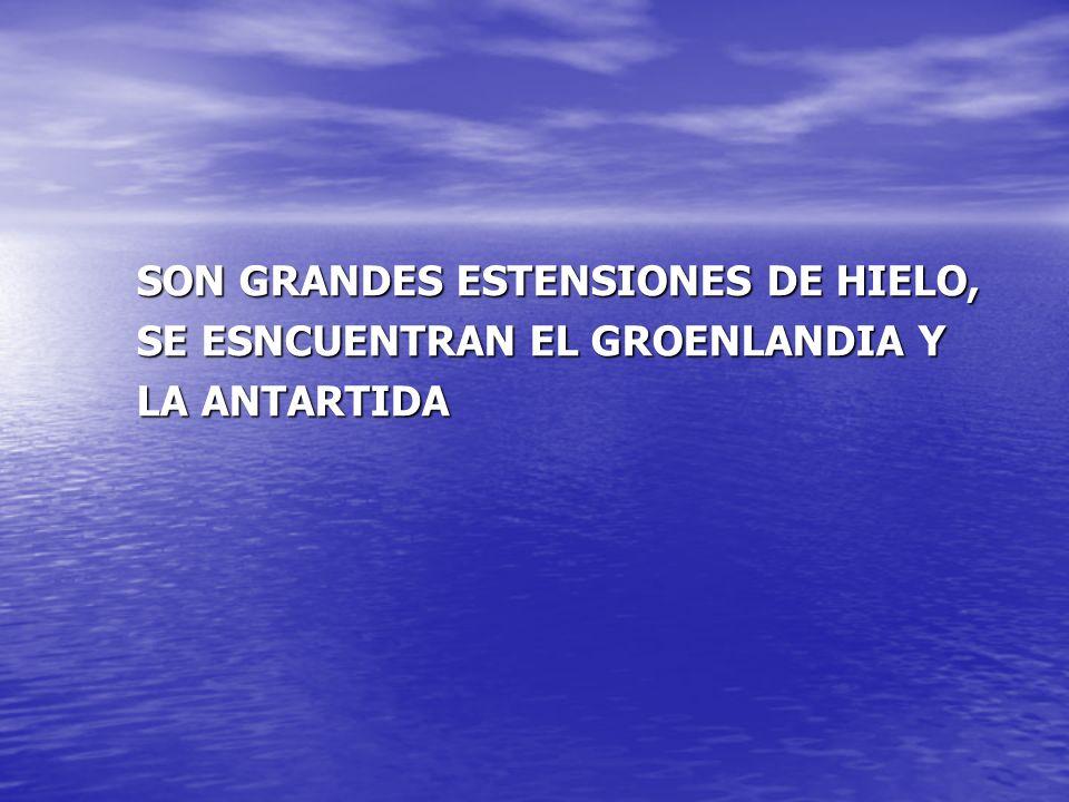 SON GRANDES ESTENSIONES DE HIELO, SE ESNCUENTRAN EL GROENLANDIA Y LA ANTARTIDA