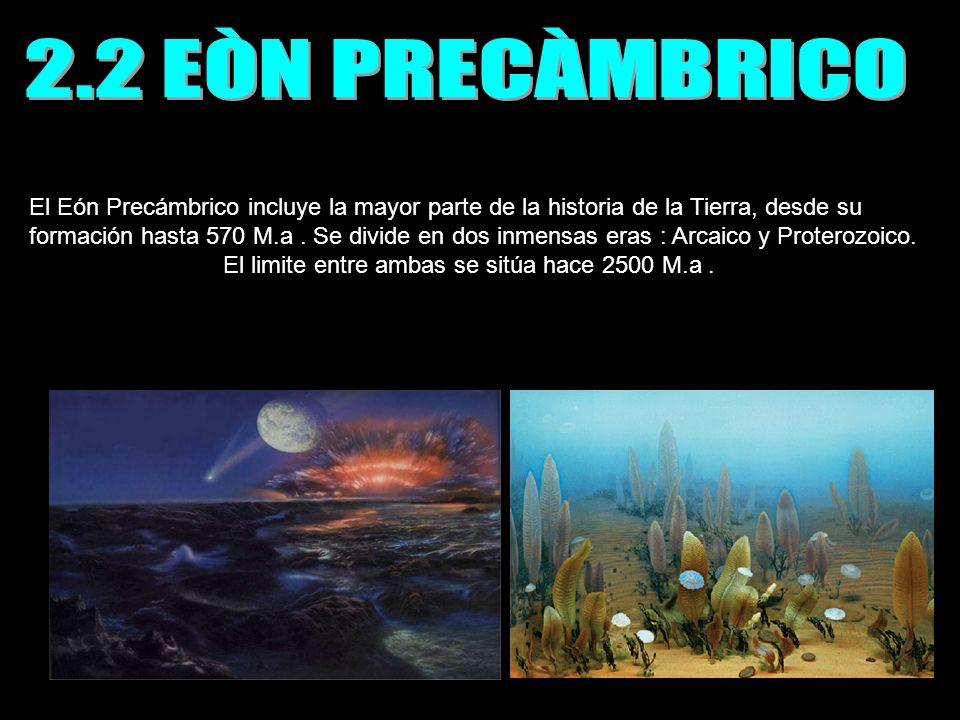 El Eón Precámbrico incluye la mayor parte de la historia de la Tierra, desde su formación hasta 570 M.a. Se divide en dos inmensas eras : Arcaico y Pr