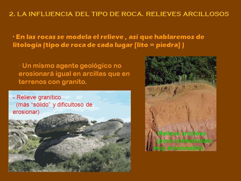 2. LA INFLUENCIA DEL TIPO DE ROCA. RELIEVES ARCILLOSOS · En las rocas se modela el relieve, así que hablaremos de litología (tipo de roca de cada luga