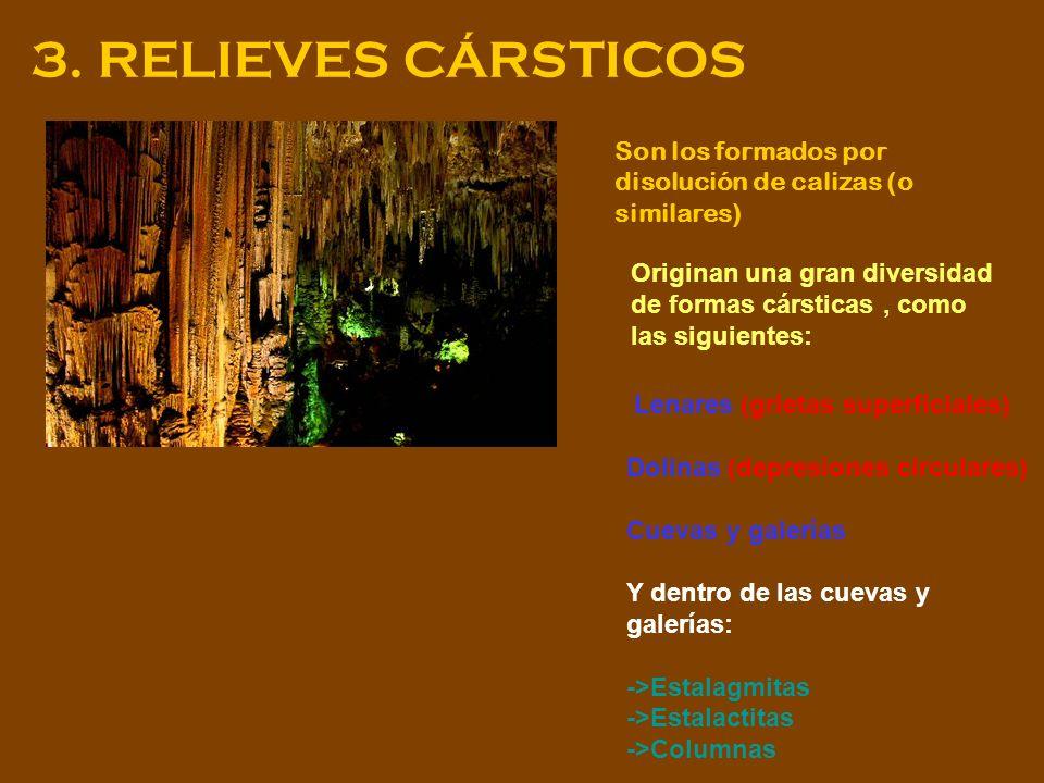 3. RELIEVES CÁRSTICOS Son los formados por disolución de calizas (o similares) Originan una gran diversidad de formas cársticas, como las siguientes: