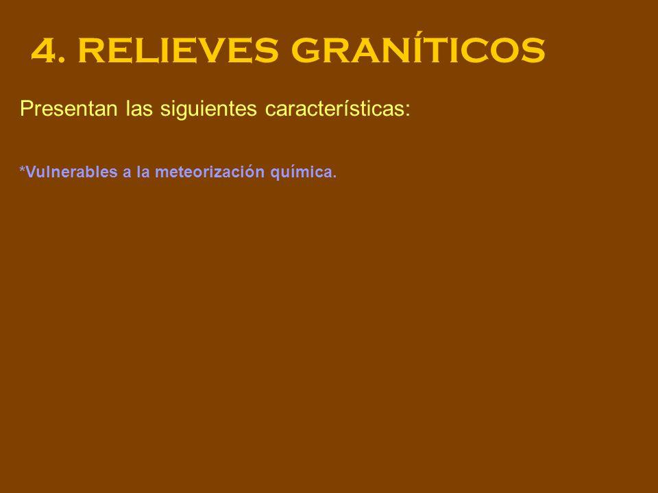 4. RELIEVES GRANÍTICOS Presentan las siguientes características: *Vulnerables a la meteorización química.