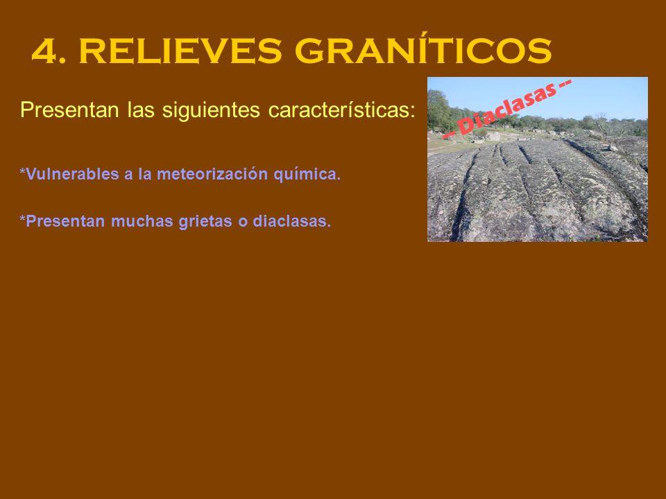 4. RELIEVES GRANÍTICOS Presentan las siguientes características: *Vulnerables a la meteorización química. *Presentan muchas grietas o diaclasas. -- Di
