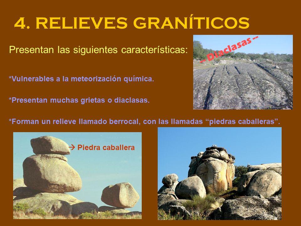 4. RELIEVES GRANÍTICOS Presentan las siguientes características: *Vulnerables a la meteorización química. *Presentan muchas grietas o diaclasas. *Form