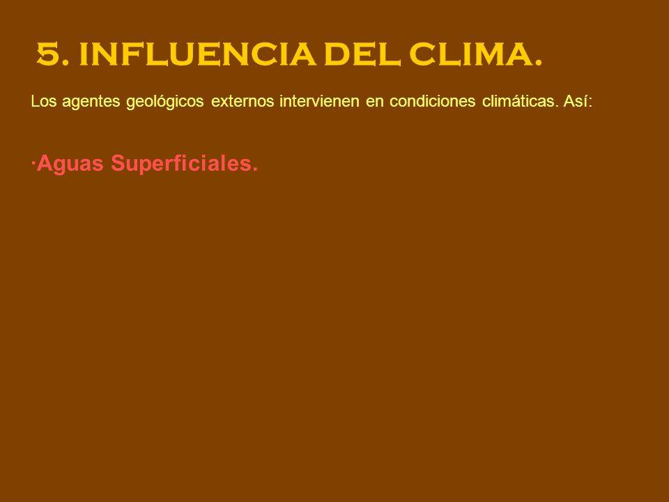 5. INFLUENCIA DEL CLIMA. Los agentes geológicos externos intervienen en condiciones climáticas. Así: ·Aguas Superficiales.