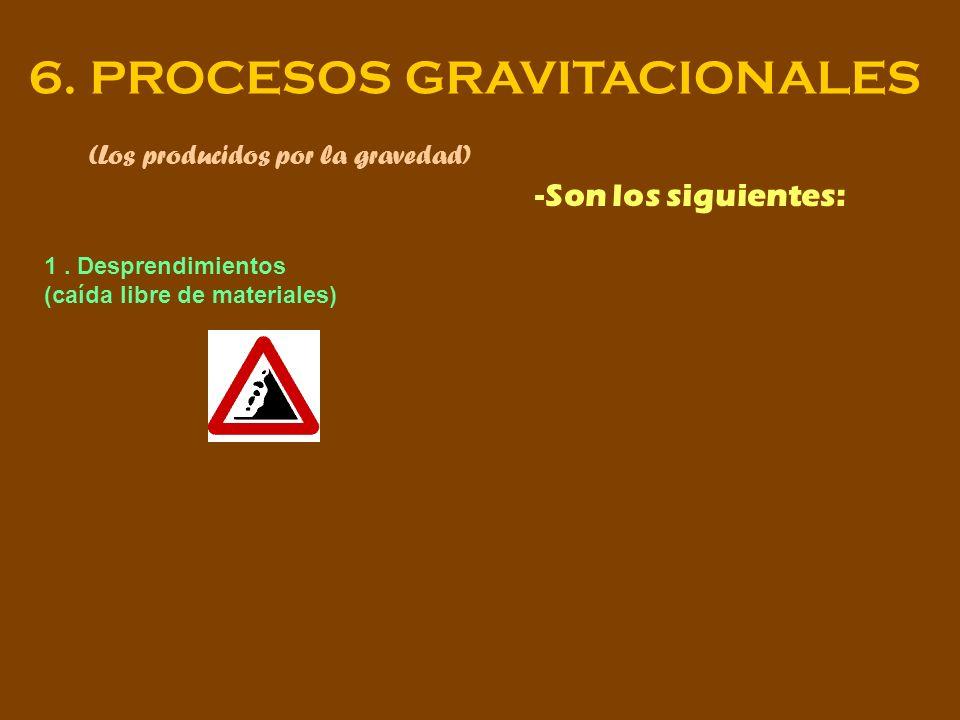 6. PROCESOS GRAVITACIONALES (Los producidos por la gravedad) -Son los siguientes: 1. Desprendimientos (caída libre de materiales)