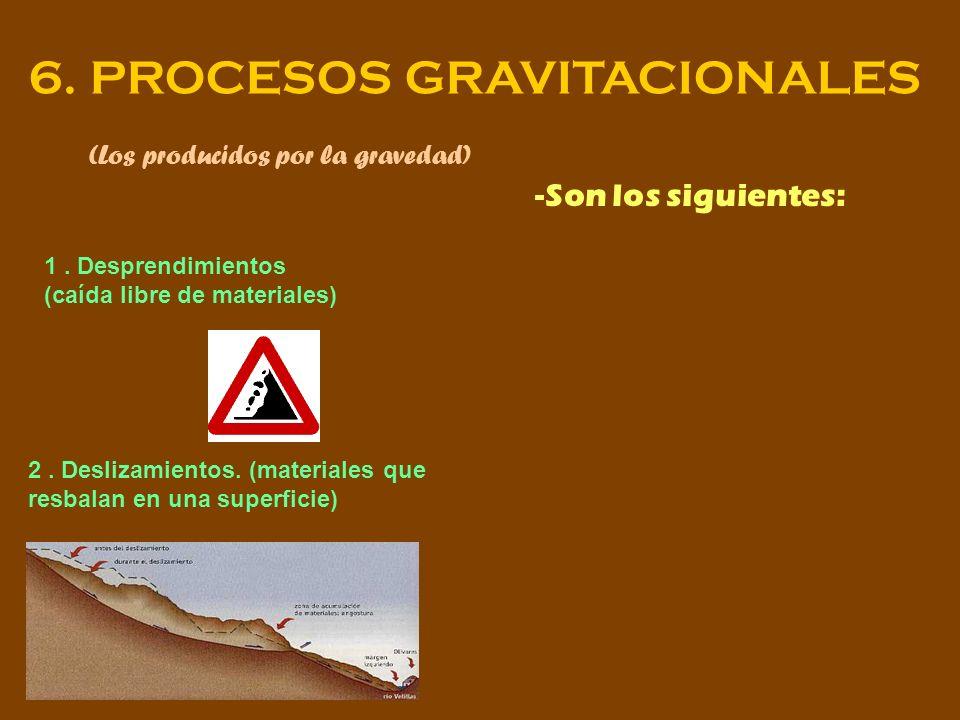 6. PROCESOS GRAVITACIONALES (Los producidos por la gravedad) -Son los siguientes: 1. Desprendimientos (caída libre de materiales) 2. Deslizamientos. (