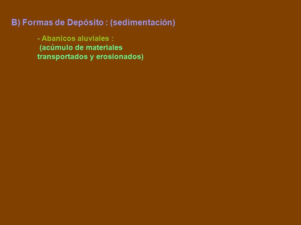 - Abanicos aluviales : (acúmulo de materiales transportados y erosionados)