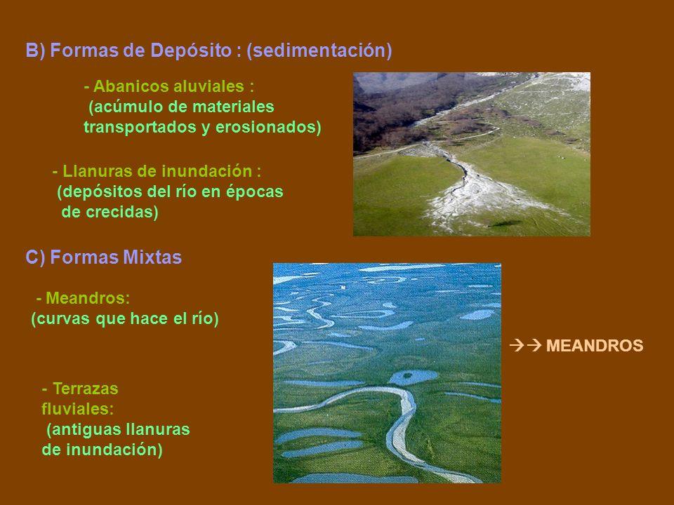 B) Formas de Depósito : (sedimentación) - Abanicos aluviales : (acúmulo de materiales transportados y erosionados) - Llanuras de inundación : (depósit