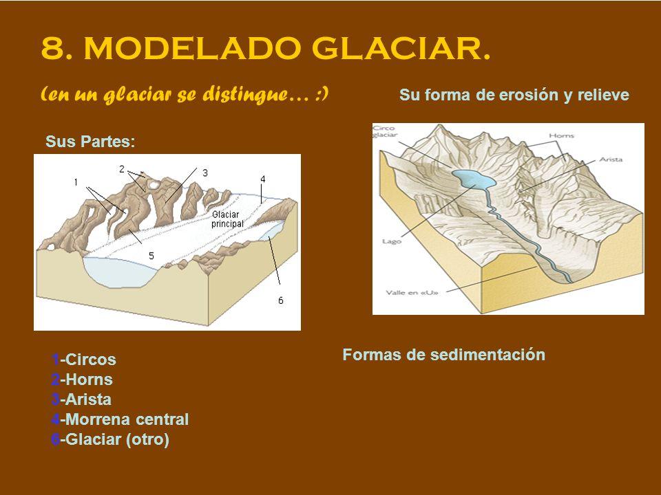 8. MODELADO GLACIAR. (en un glaciar se distingue… :) Sus Partes: Su forma de erosión y relieve 1-Circos 2-Horns 3-Arista 4-Morrena central 6-Glaciar (