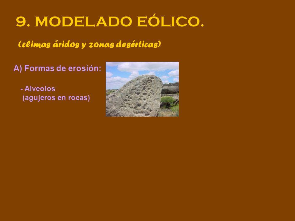 9. MODELADO EÓLICO. (climas áridos y zonas desérticas) A) Formas de erosión: - Alveolos (agujeros en rocas)
