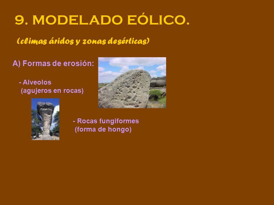 9. MODELADO EÓLICO. (climas áridos y zonas desérticas) A) Formas de erosión: - Alveolos (agujeros en rocas) - Rocas fungiformes (forma de hongo)