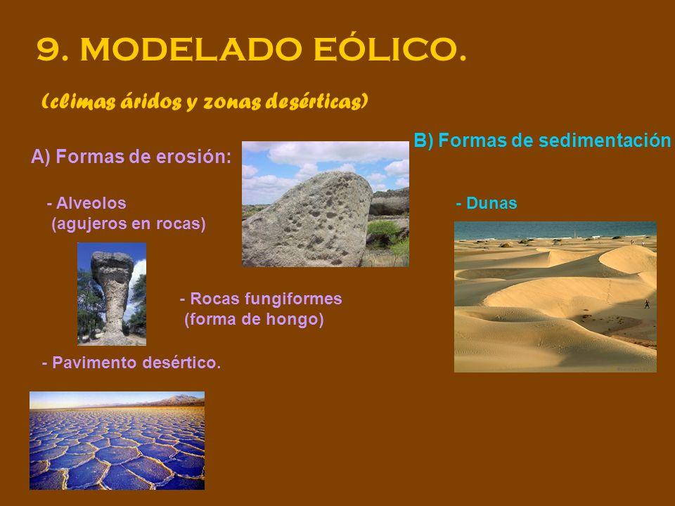 9. MODELADO EÓLICO. (climas áridos y zonas desérticas) A) Formas de erosión: - Alveolos (agujeros en rocas) - Rocas fungiformes (forma de hongo) - Pav
