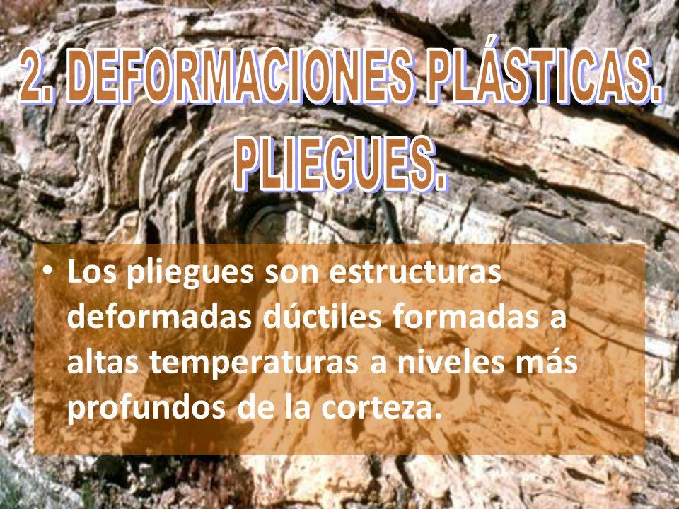 Los pliegues son estructuras deformadas dúctiles formadas a altas temperaturas a niveles más profundos de la corteza.