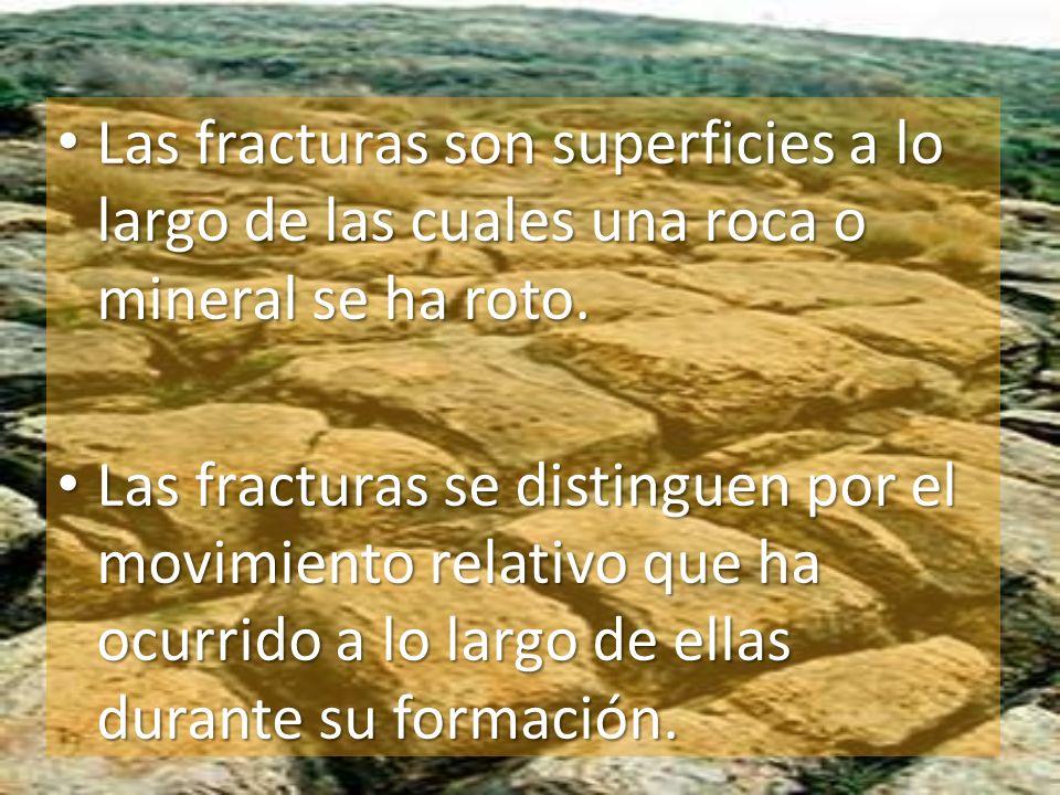 Las fracturas son superficies a lo largo de las cuales una roca o mineral se ha roto. Las fracturas son superficies a lo largo de las cuales una roca