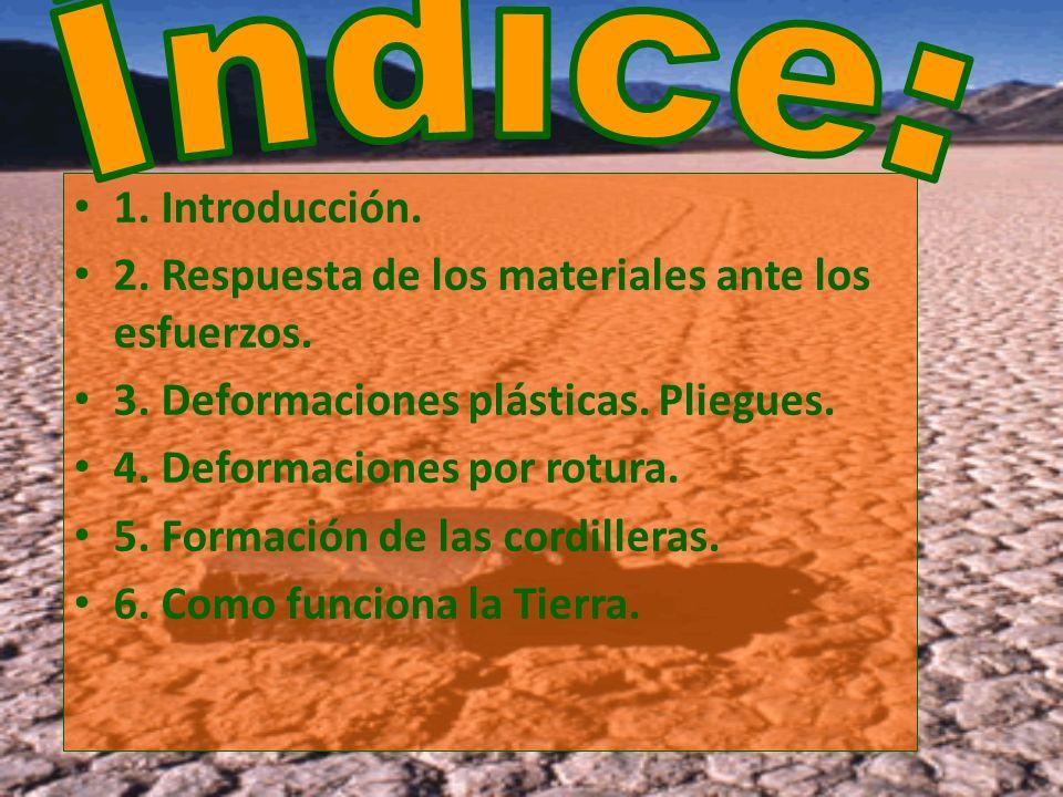 1. Introducción. 2. Respuesta de los materiales ante los esfuerzos. 3. Deformaciones plásticas. Pliegues. 4. Deformaciones por rotura. 5. Formación de
