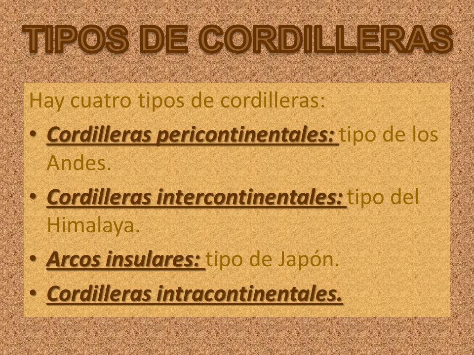 Hay cuatro tipos de cordilleras: Cordilleras pericontinentales: Cordilleras pericontinentales: tipo de los Andes. Cordilleras intercontinentales: Cord