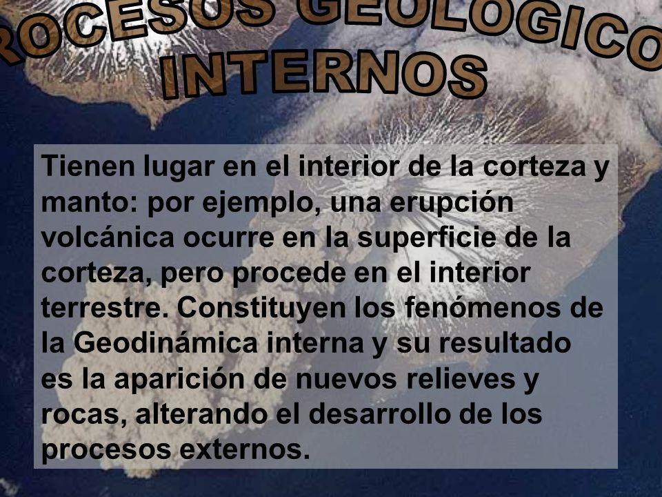 Tienen lugar en el interior de la corteza y manto: por ejemplo, una erupción volcánica ocurre en la superficie de la corteza, pero procede en el inter