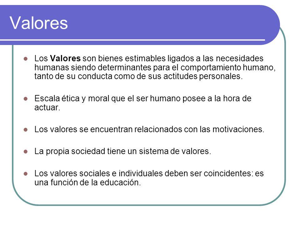 ¿Qué son los valores? Son cualidades latentes, atemporales más allá de la época, de las culturas, de las razas. Su desarrollo armónico supone la reali