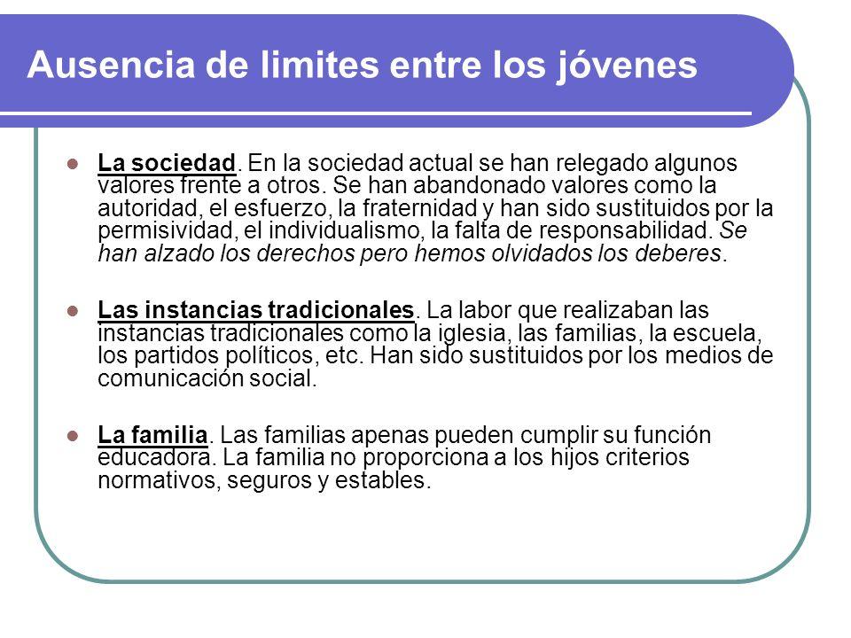 Valores dominantes en los jóvenes de hoy La aceptación de la familia como proyección futura, debido a: Precariedad del empleo Falta de vivienda Búsque