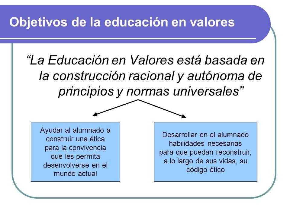 Principios de la educación en valores Establecer una serie de valores fundamentales para la convivencia, que sirvan de base para la acción educativa.