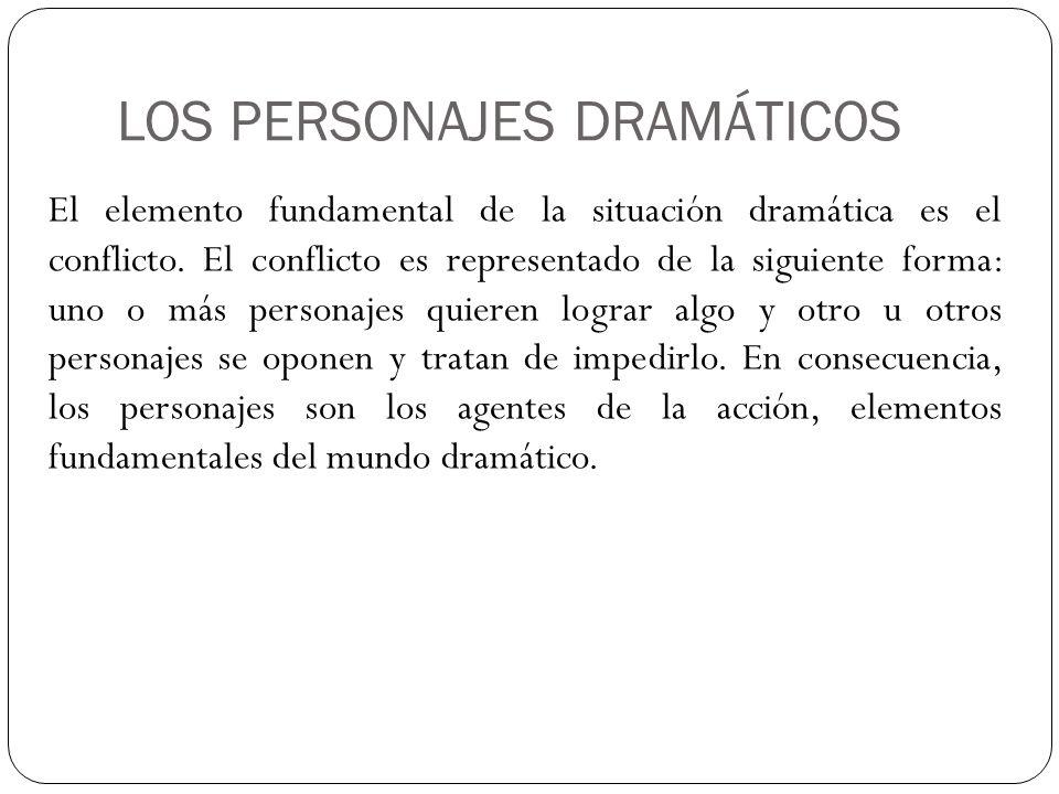 LOS PERSONAJES DRAMÁTICOS El elemento fundamental de la situación dramática es el conflicto. El conflicto es representado de la siguiente forma: uno o