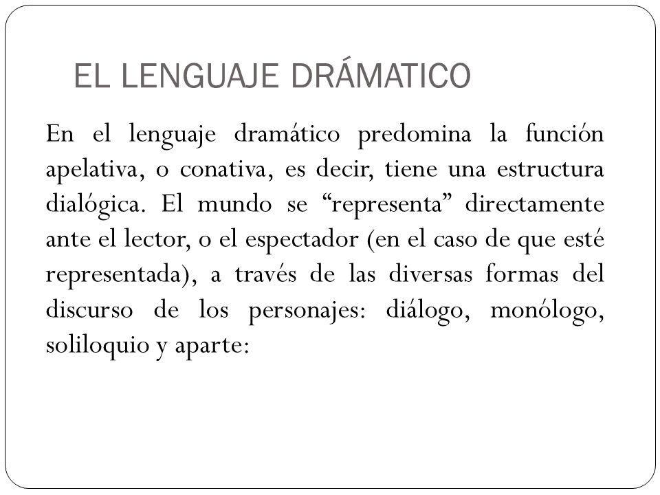EL LENGUAJE DRÁMATICO En el lenguaje dramático predomina la función apelativa, o conativa, es decir, tiene una estructura dialógica. El mundo se repre