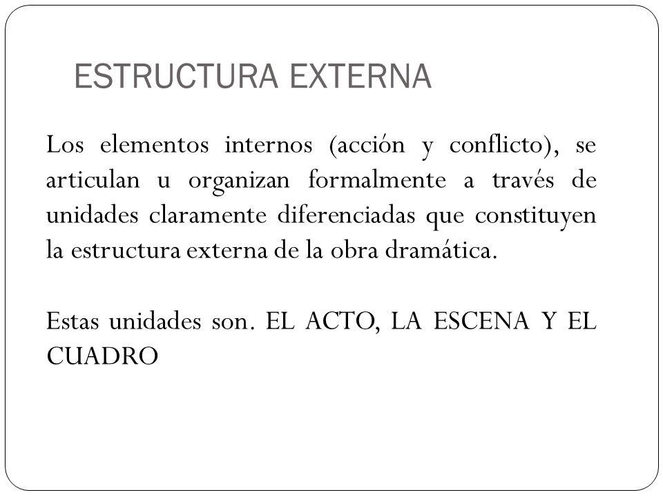 ESTRUCTURA EXTERNA Los elementos internos (acción y conflicto), se articulan u organizan formalmente a través de unidades claramente diferenciadas que