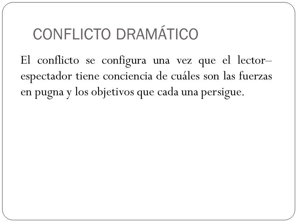 CONFLICTO DRAMÁTICO El conflicto se configura una vez que el lector– espectador tiene conciencia de cuáles son las fuerzas en pugna y los objetivos qu