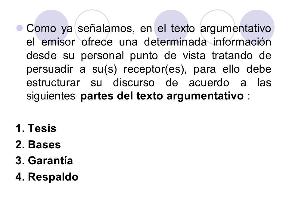 Como ya señalamos, en el texto argumentativo el emisor ofrece una determinada información desde su personal punto de vista tratando de persuadir a su(