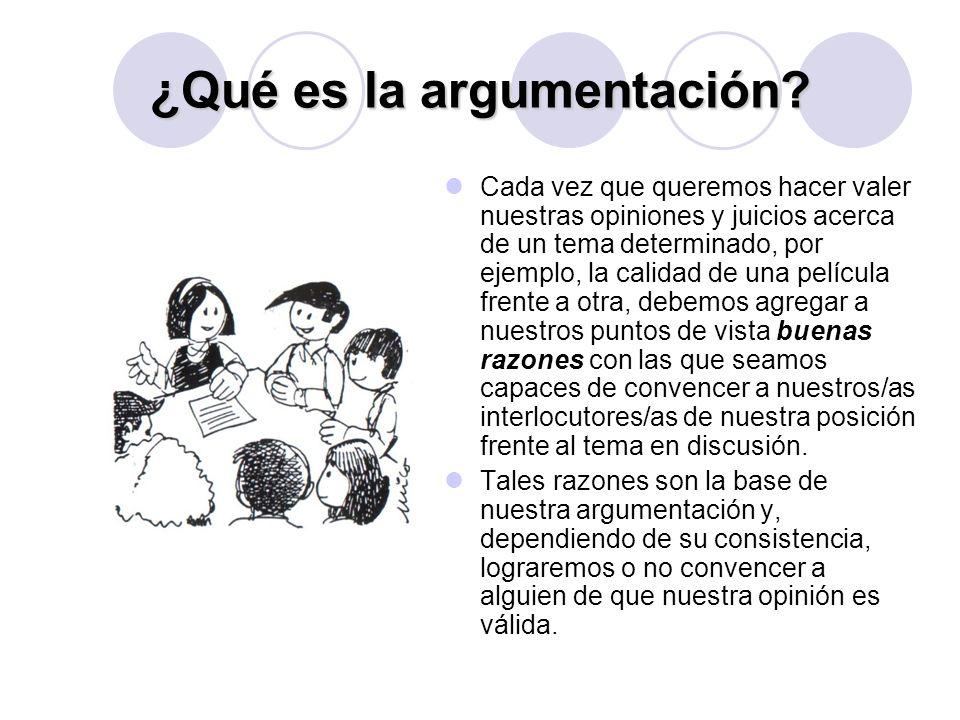 ¿Qué es la argumentación? Cada vez que queremos hacer valer nuestras opiniones y juicios acerca de un tema determinado, por ejemplo, la calidad de una