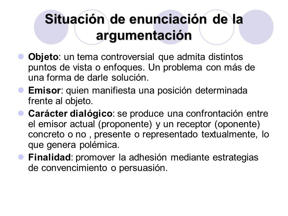 Situación de enunciación de la argumentación Objeto: un tema controversial que admita distintos puntos de vista o enfoques. Un problema con más de una