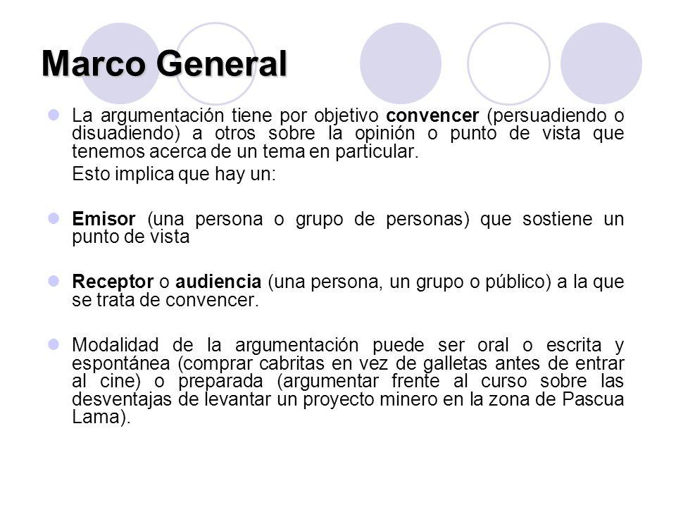 Marco General La argumentación tiene por objetivo convencer (persuadiendo o disuadiendo) a otros sobre la opinión o punto de vista que tenemos acerca