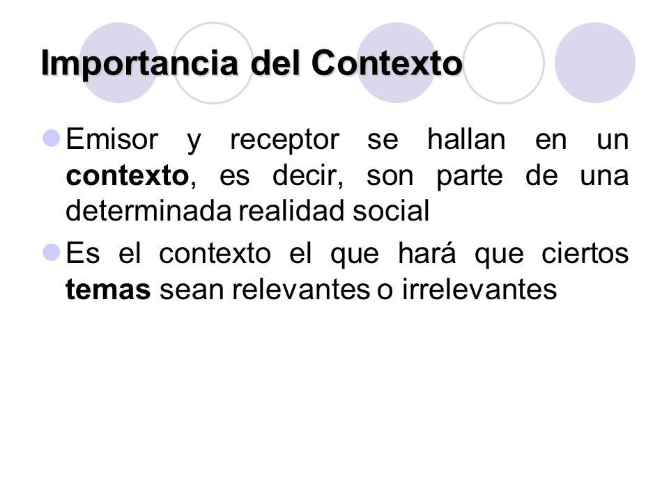 Importancia del Contexto Emisor y receptor se hallan en un contexto, es decir, son parte de una determinada realidad social Es el contexto el que hará