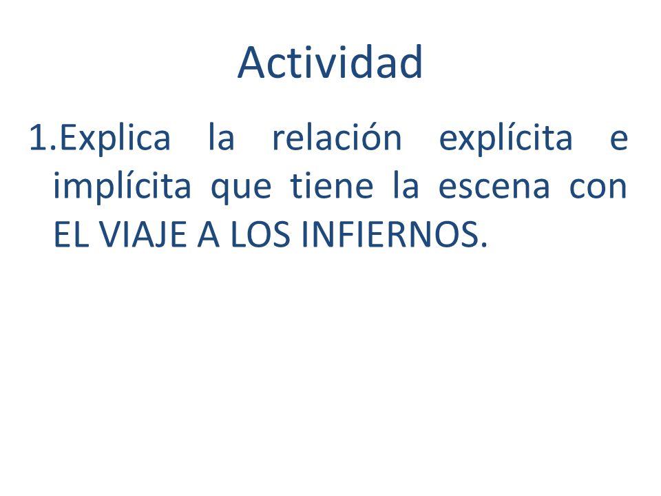 Actividad 1.Explica la relación explícita e implícita que tiene la escena con EL VIAJE A LOS INFIERNOS.