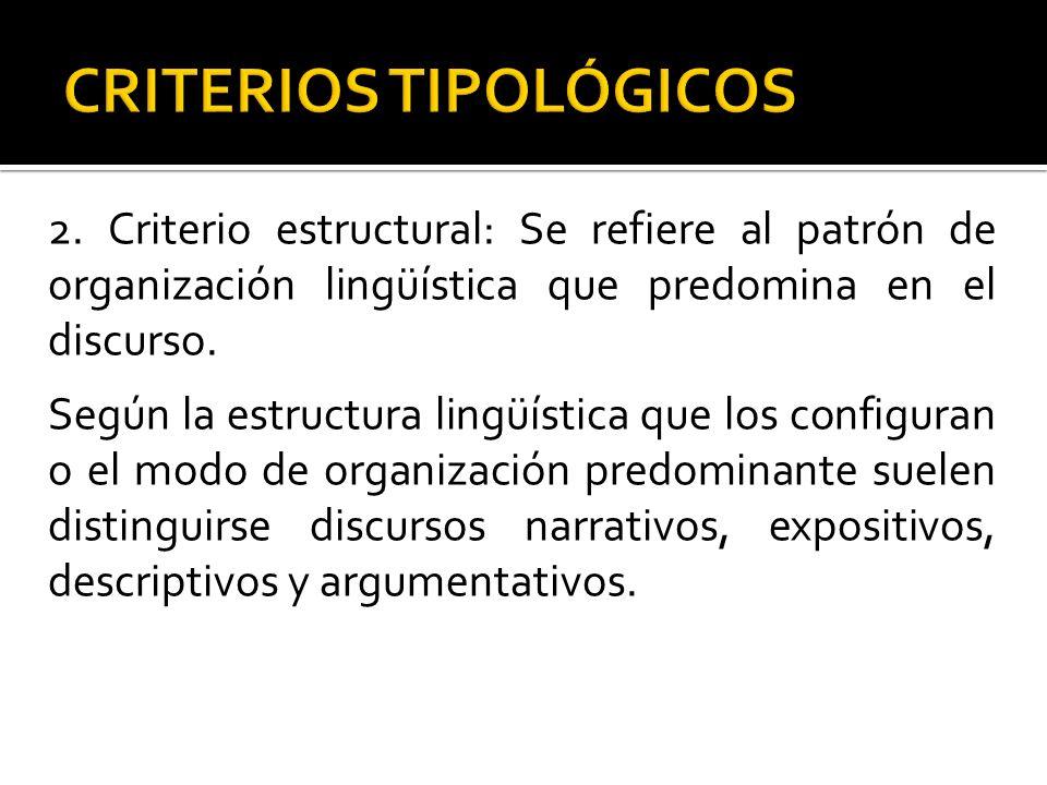 2. Criterio estructural: Se refiere al patrón de organización lingüística que predomina en el discurso. Según la estructura lingüística que los config