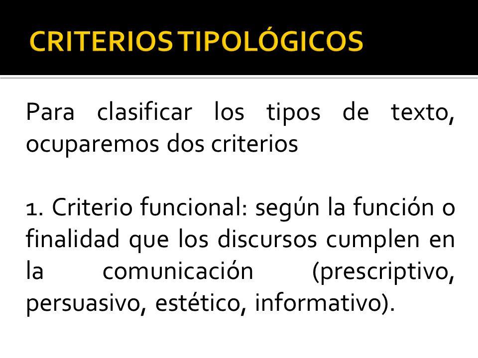 Para clasificar los tipos de texto, ocuparemos dos criterios 1. Criterio funcional: según la función o finalidad que los discursos cumplen en la comun