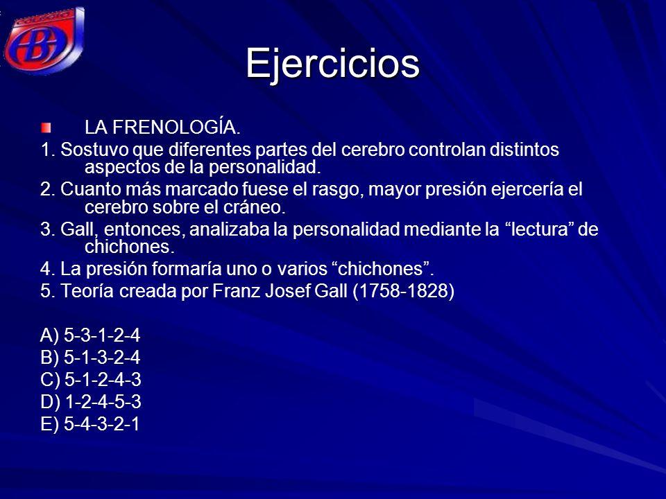 Ejercicios LA FRENOLOGÍA. 1. Sostuvo que diferentes partes del cerebro controlan distintos aspectos de la personalidad. 2. Cuanto más marcado fuese el