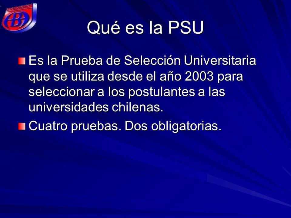 Qué es la PSU Es la Prueba de Selección Universitaria que se utiliza desde el año 2003 para seleccionar a los postulantes a las universidades chilenas