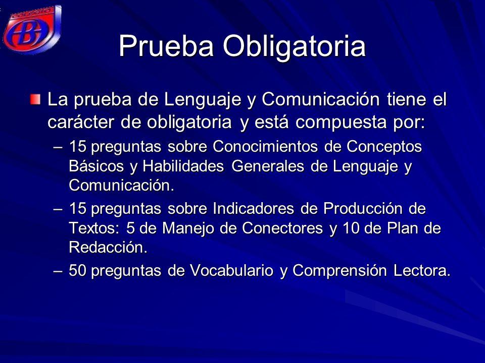 Prueba Obligatoria La prueba de Lenguaje y Comunicación tiene el carácter de obligatoria y está compuesta por: –15 preguntas sobre Conocimientos de Co