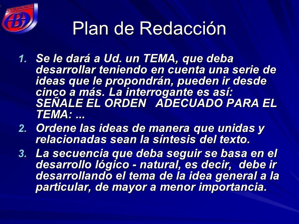 Plan de Redacción 1. Se le dará a Ud. un TEMA, que deba desarrollar teniendo en cuenta una serie de ideas que le propondrán, pueden ir desde cinco a m