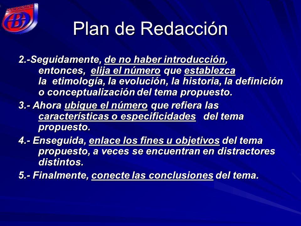 Plan de Redacción 2.-Seguidamente, de no haber introducción, entonces, elija el número que establezca la etimología, la evolución, la historia, la def