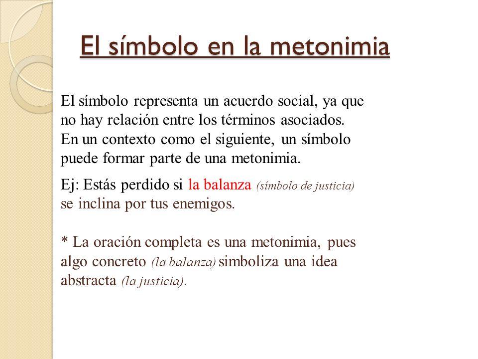 El símbolo en la metonimia El símbolo representa un acuerdo social, ya que no hay relación entre los términos asociados. En un contexto como el siguie