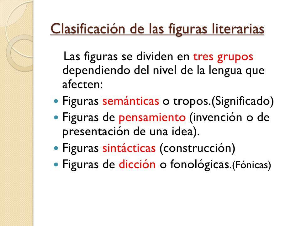 Clasificación de las figuras literarias Las figuras se dividen en tres grupos dependiendo del nivel de la lengua que afecten: Figuras semánticas o tro