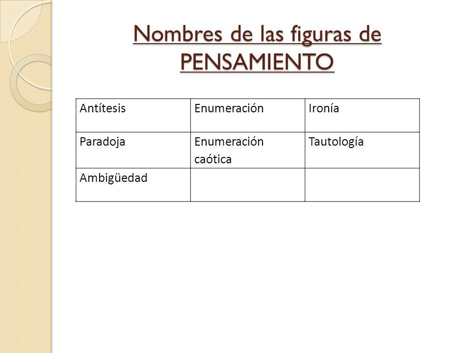 Nombres de las figuras de PENSAMIENTO AntítesisEnumeraciónIronía Paradoja Enumeración caótica Tautología Ambigüedad