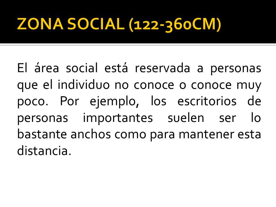 El área social está reservada a personas que el individuo no conoce o conoce muy poco. Por ejemplo, los escritorios de personas importantes suelen ser
