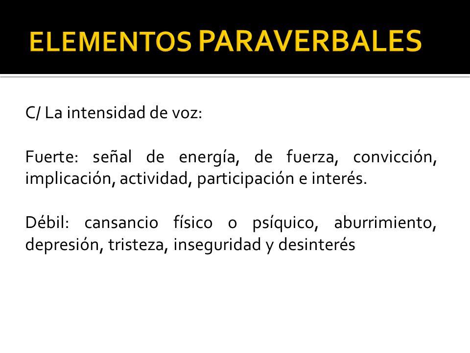 C/ La intensidad de voz: Fuerte: señal de energía, de fuerza, convicción, implicación, actividad, participación e interés. Débil: cansancio físico o p